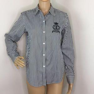Lauren Ralph Lauren Black & White Stripe Button
